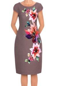 Sukienka Dagon 2657 czekoladowa w kwiaty