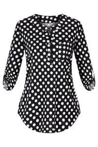 Bluzka damska czarna w białe kropy