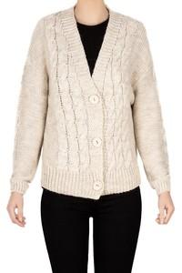 Sweter damski rozpinany beż