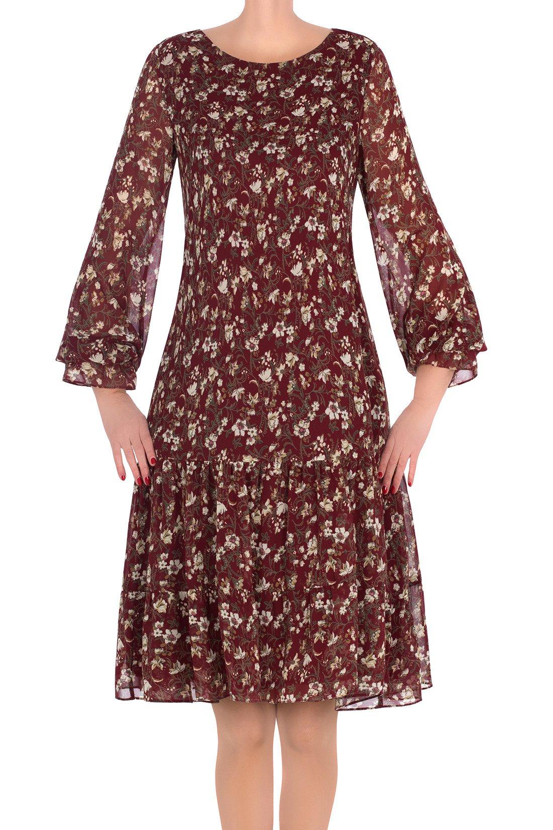 165cfbe780 Sukienka Maria Magdalena Sara bordowa w kwiaty z falbaną Kliknij