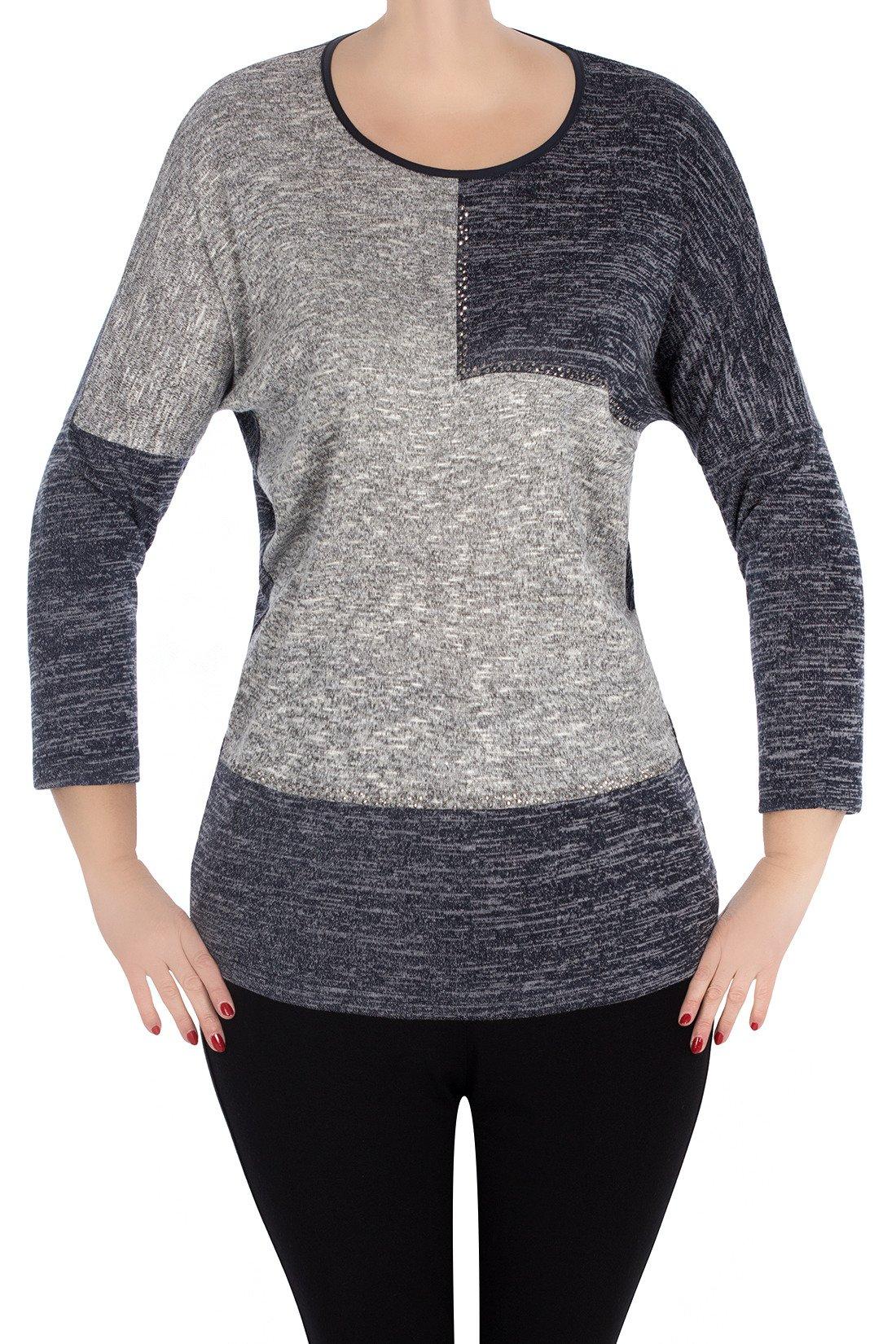 a52230d39da01 Bluzka Marguerite by Mako jeansowa z szarym 3002 | sklep internetowy ...