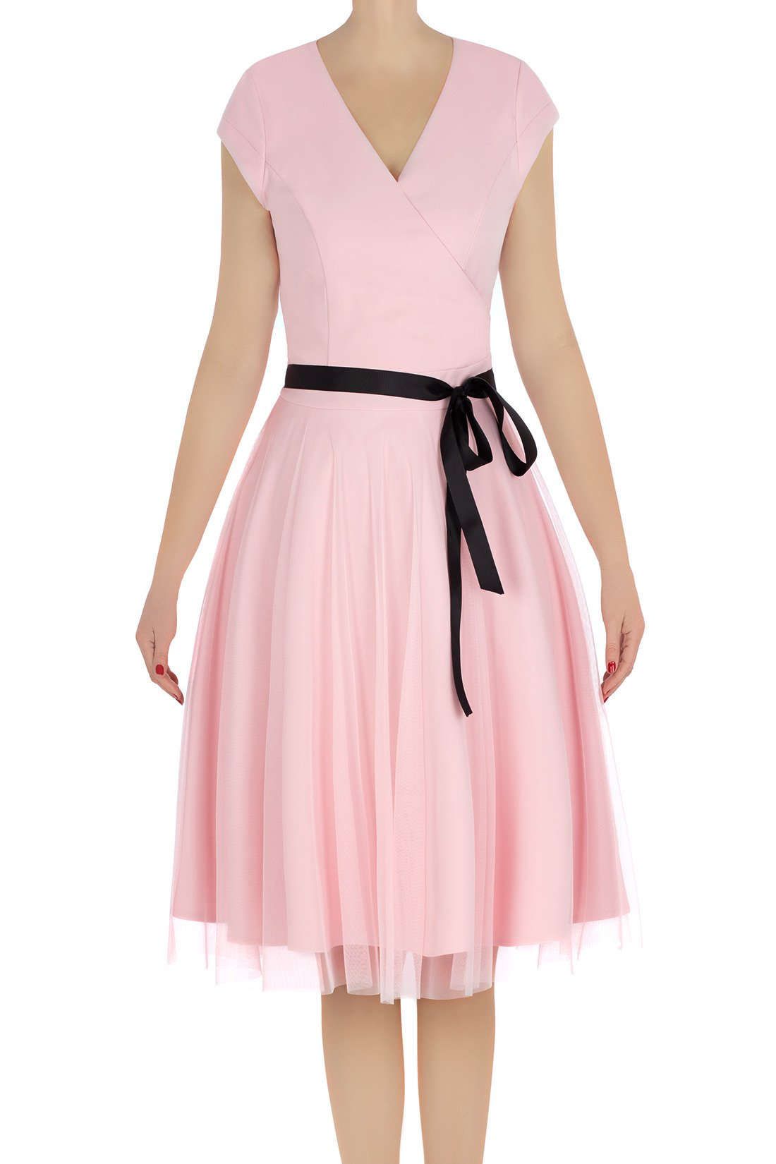 7a07bee67 Elegancka sukienka damska Feero pudrowy róż z paskiem 3225 Kliknij, aby  powiększyć ...