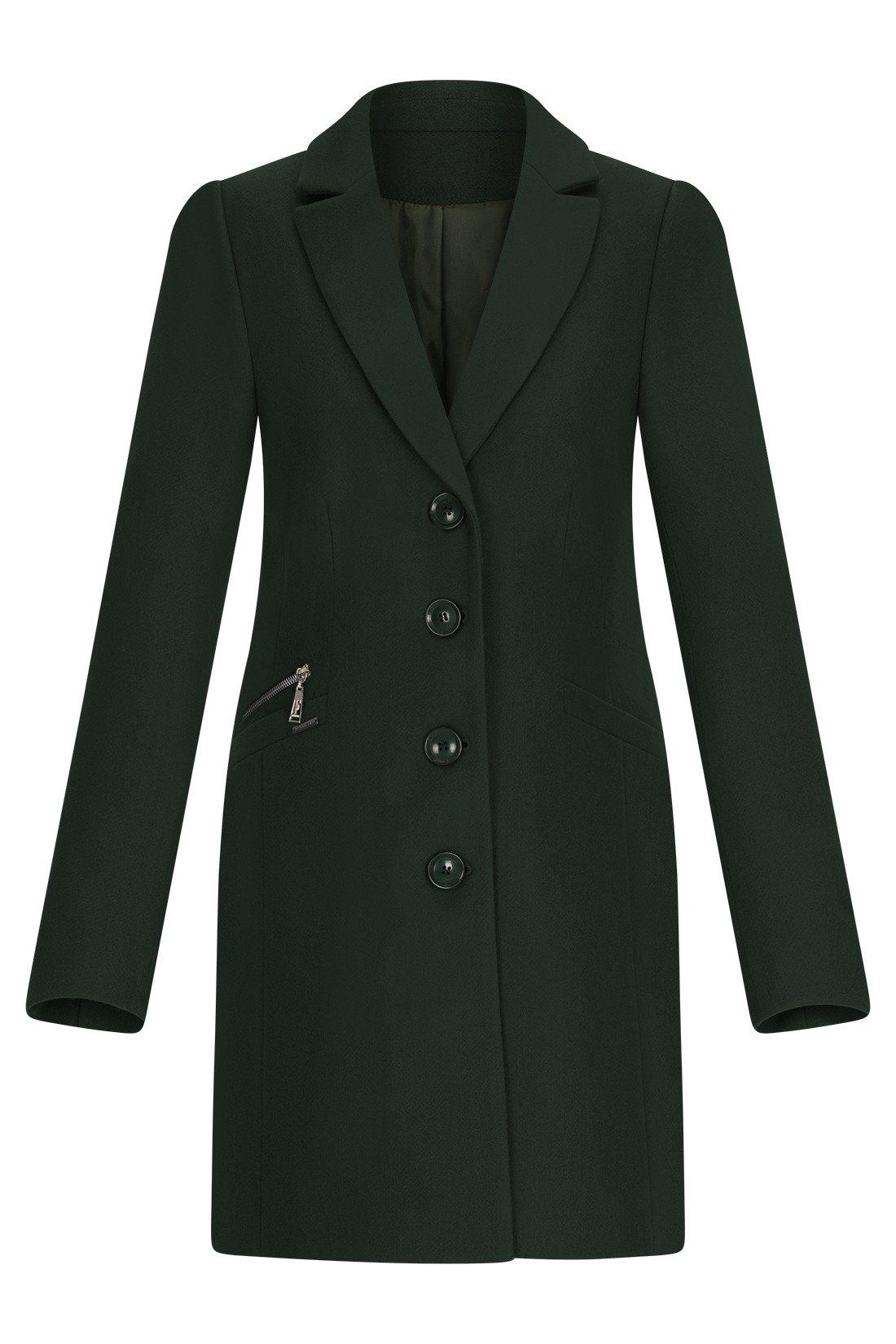 cfcd1daeed236 Klasyczny zimowy płaszcz damski Huna Jasmin zielony Kliknij, aby powiększyć  ...