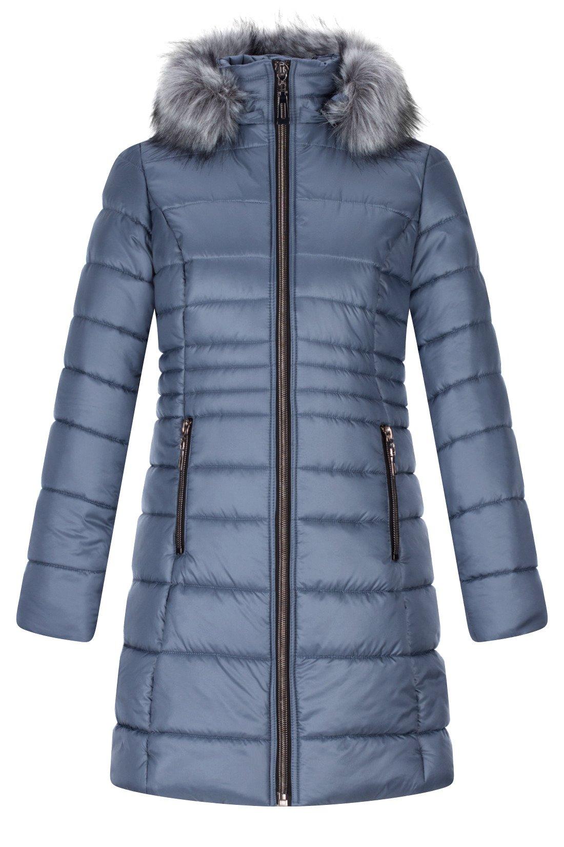 Zimowa kurtka jeansowa z kapturem z futerkiem