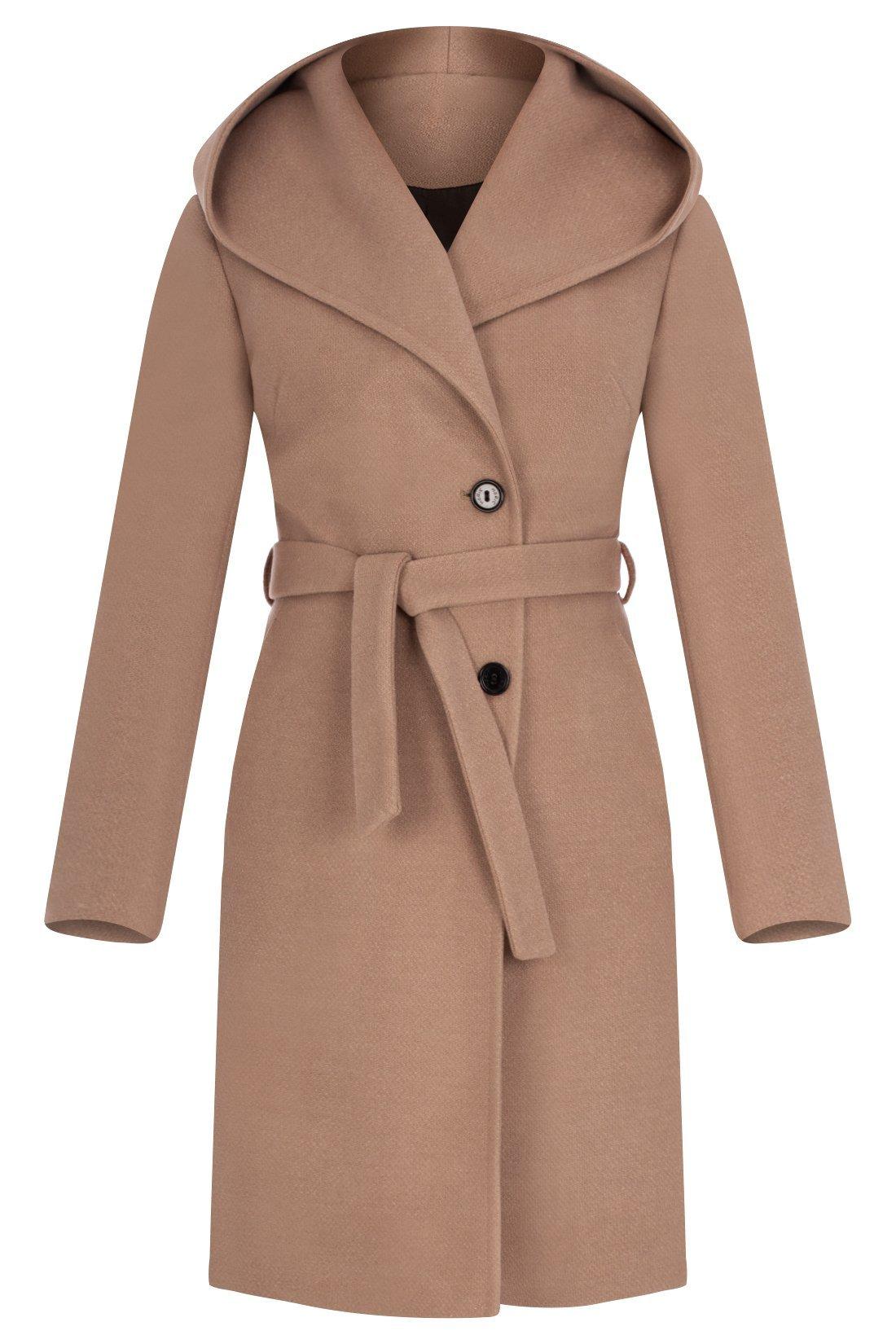 Beżowy ,zimowy damski płaszcz