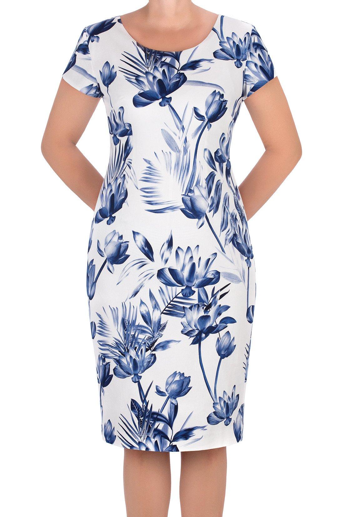 29100d5a287d Sukienka Dagon 2631 ecru w niebieskie kwiaty bawełniana