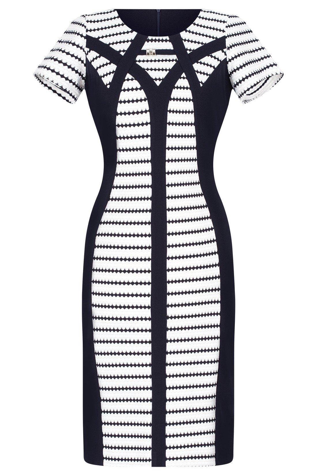 082f16d2 Wizytowa sukienka Andrea granatowo-biała w geometryczne paski