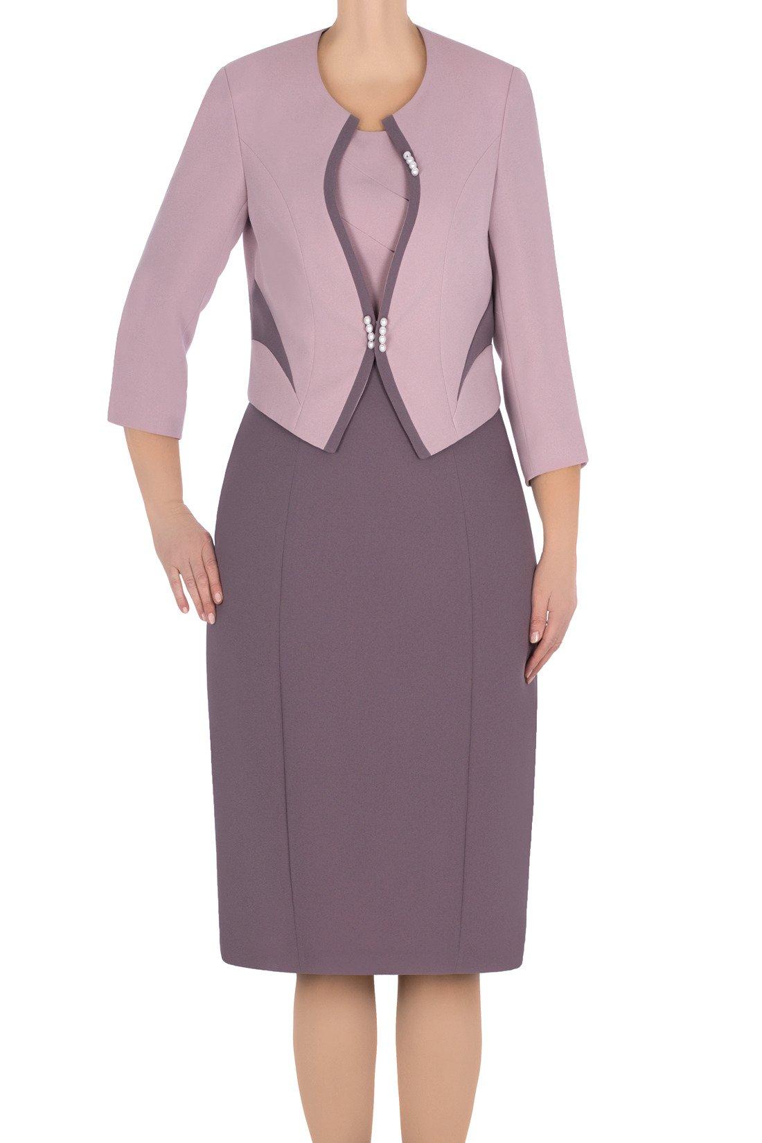 8bb24a7ba4 Wizytowy komplet damski Perła wrzosowy sukienka i żakiet