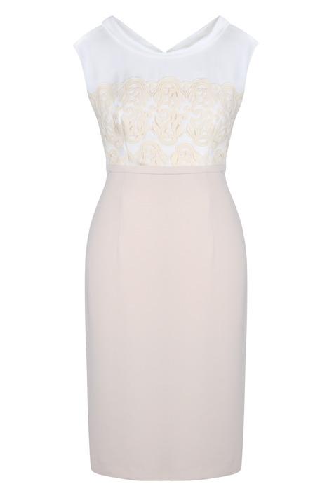 Beżowo kremowa sukienka z koronką