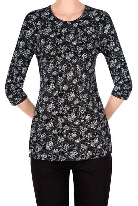 Bluzka Aga czarna w małe różyczki i krople deszczu