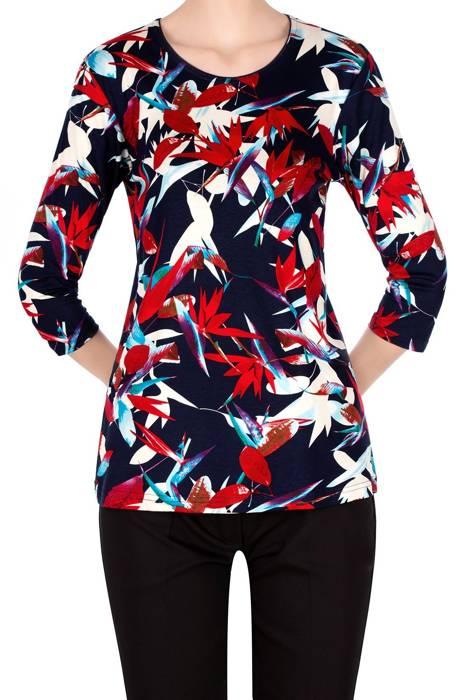 Bluzka Aga granatowa w kolorowe kwiaty