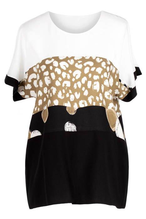 Bluzka Elite biało-czarna-camelowa