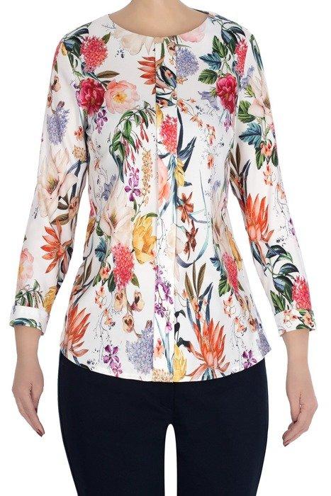 Bluzka WM ecru w kolorowe kwiaty