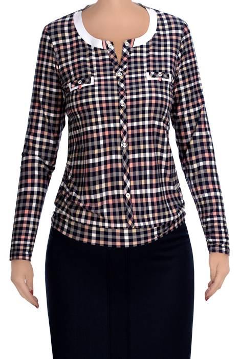 Bluzka damska 3985 w kolorową kratę