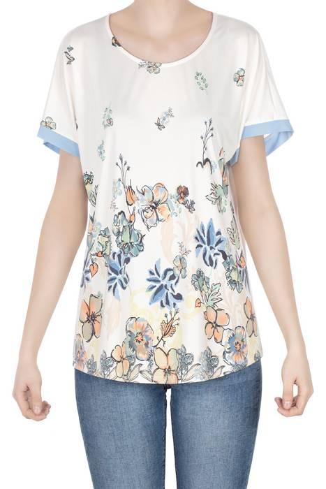 Bluzka damska ecru w kolorowe kwiaty