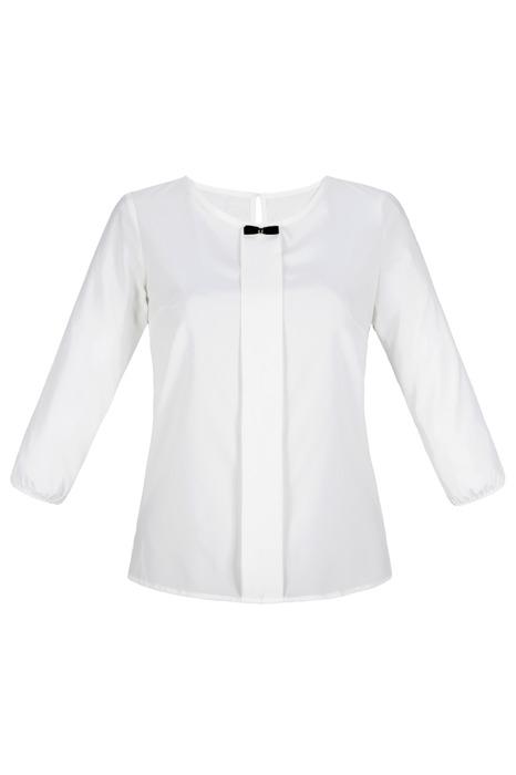 Bluzka damska gładka w kolorze kremowym z muszką przy dekolcie