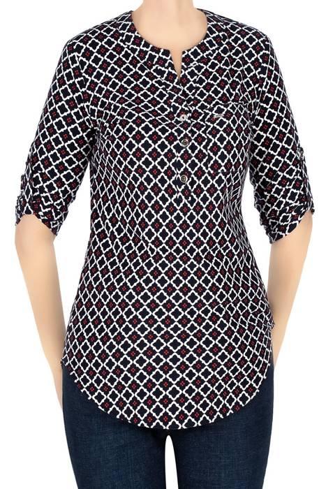 Bluzka damska granatowa we wzory