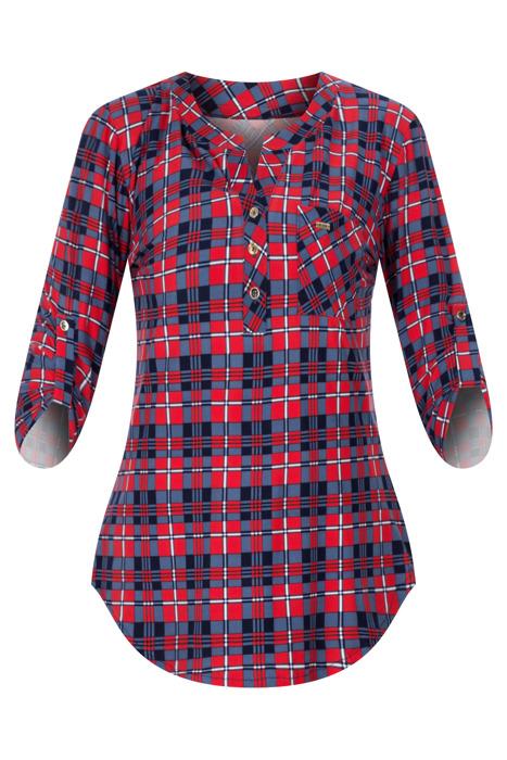 Bluzka damska niebiesko-czerwona w kratkę na guziki