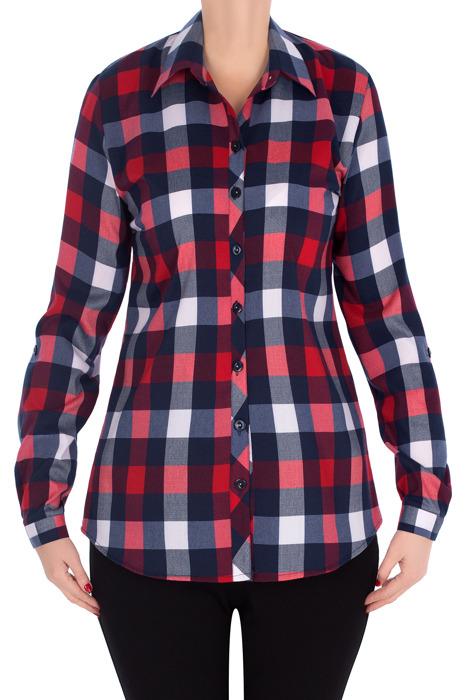 Bluzka koszulowa 2995 czerwono-granatowa w kratkę