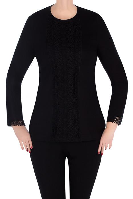 Codzienna bluzka damska 3000 czarna z koronką