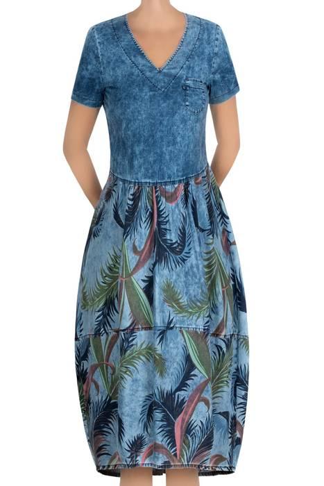 Damska sukienka 3972 jeansowa w palmy
