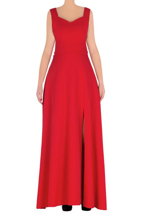 Długa czerwona sukienka wieczorowa z rozcięciem 3148