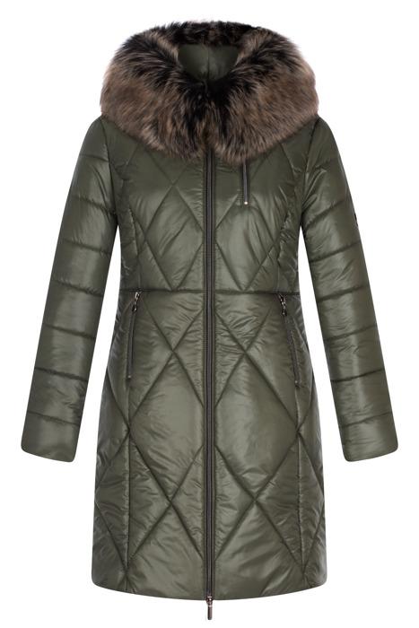 Długa kurtka zimowa AnMar oliwkowa z kapturem i futerkiem