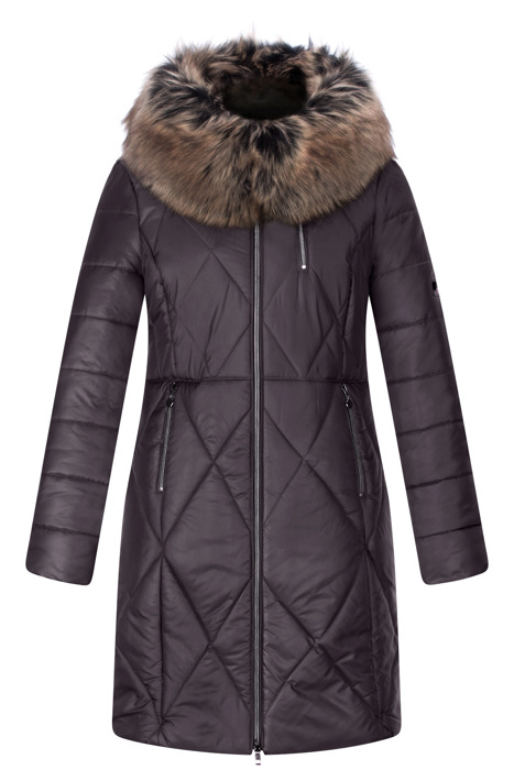 Długa kurtka zimowa AnMar śliwkowa z kapturem i futerkiem