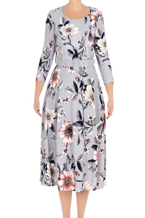 Długa sukienka damska Alika szara w kwiaty 3208