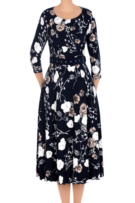 Długa sukienka damska granatowa w biało-beżowe kwiaty 3137