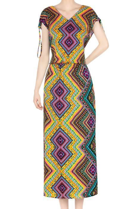 Długa sukienka damska we wzory azjatyckie