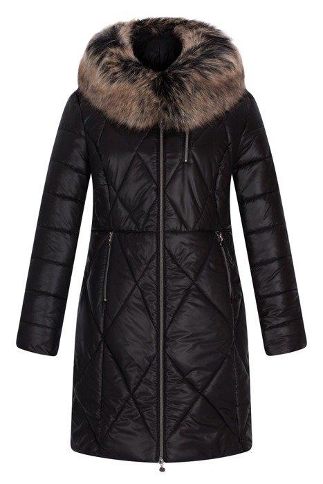 Długa, zimowa kurtka damska czarna w romby 3604