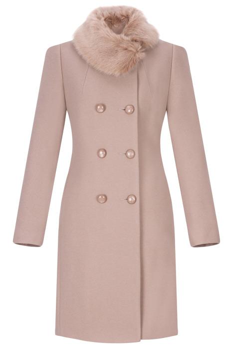 Dwurzędowy płaszcz damski zimowy Sonia kakaowy z wełną