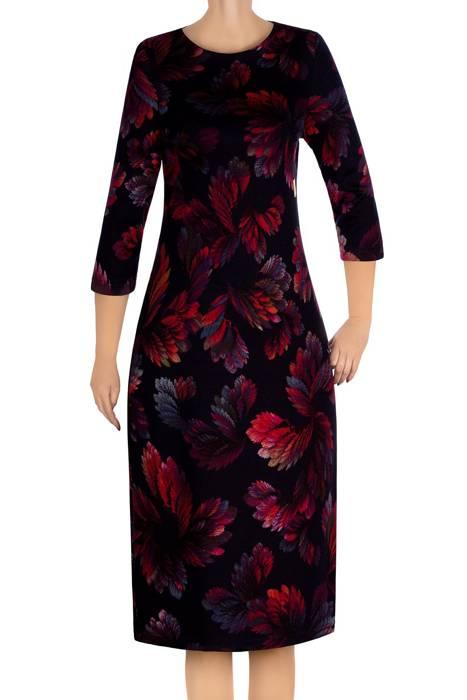 Dzianinowa sukienka Color granat w kolorowe listki