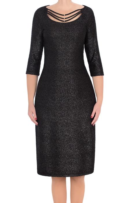 Efektowna sukienka Trynite K-831 czarna z brokatem