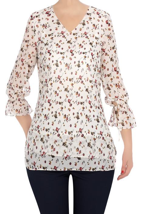 Elegancka bluzka Finka ecru w kwiatki 3335