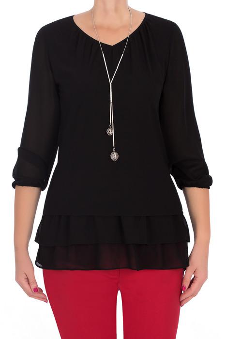 Elegancka bluzka damska 2798 czarna z wisiorkiem