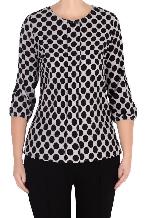 Elegancka bluzka damska 2956 szara w czarne grochy