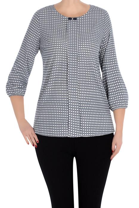 Elegancka bluzka damska 2990 szara w geometryczne wzory