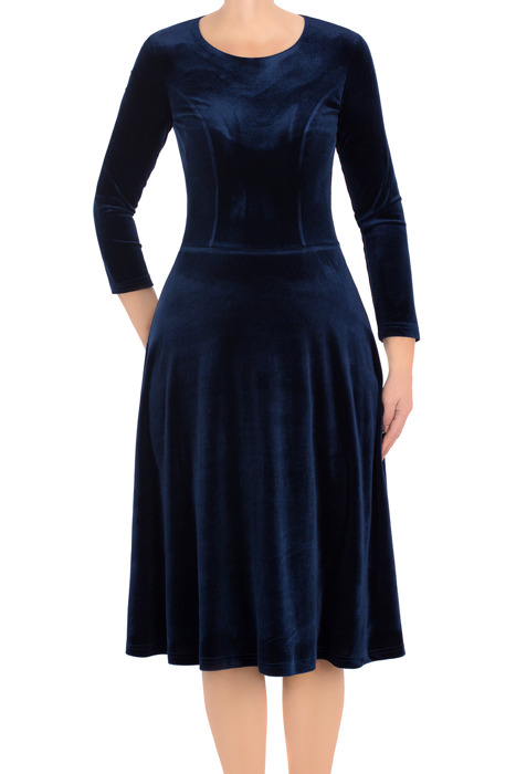 Elegancka sukienka Lotos Kuba rozkloszowana granatowa