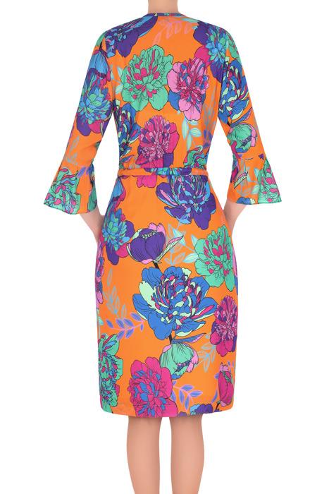 Elegancka sukienka Martyna pomarańczowa w wielokolorowe kwiaty 3190