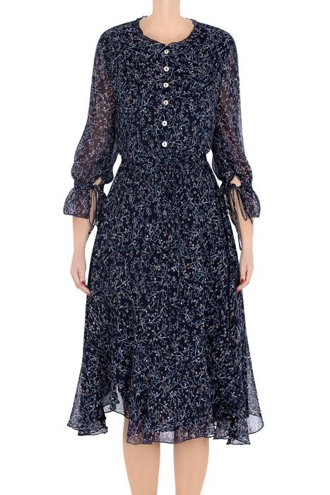 Elegancka sukienka damska Aluna granatowa w beżowe gałązki 3209