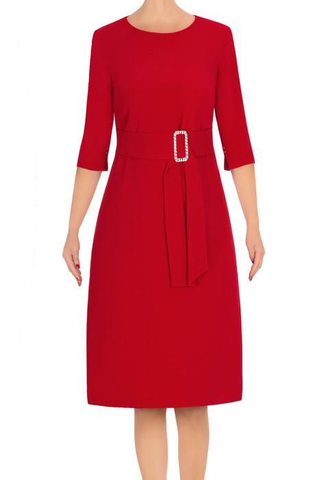 Elegancka sukienka damska Dagon 2762 czerwona z paskiem