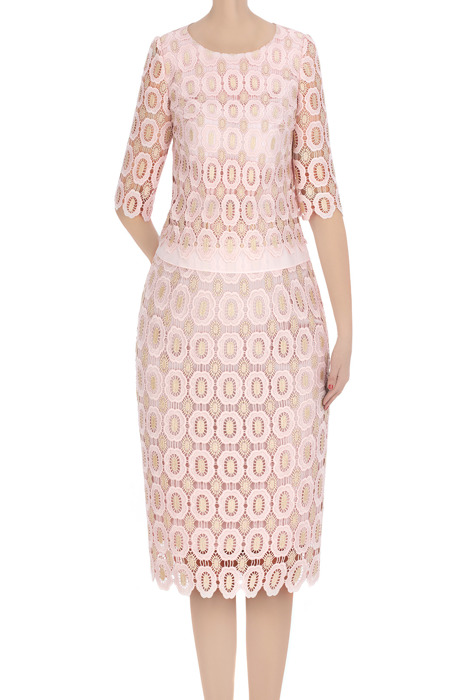 Elegancka sukienka damska Diana pudrowy róż z gipiurą 3367