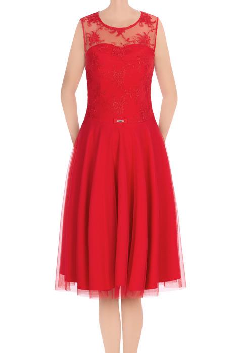 Elegancka sukienka damska Feero czerwona w koronka