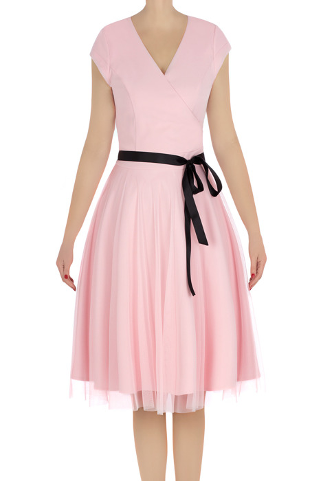 Elegancka sukienka damska Feero pudrowy róż z paskiem 3225