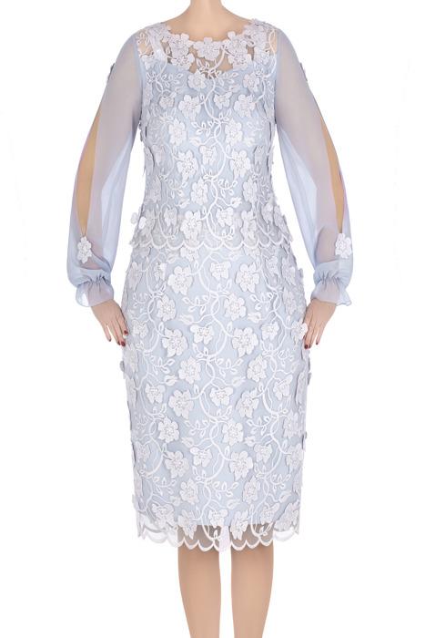 Elegancka sukienka damska Flora szara z ozdobnymi rękawami 3306