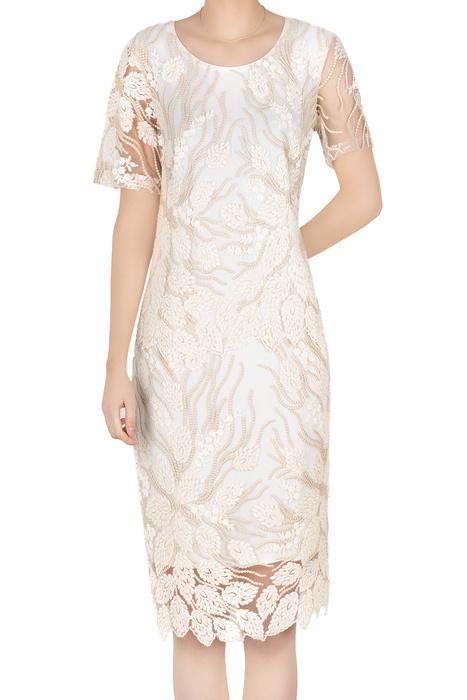 Elegancka sukienka damska ecru z gipiurą