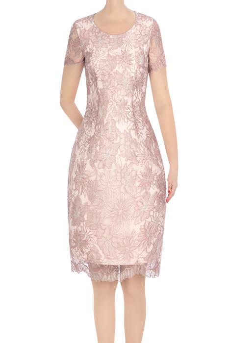 Elegancka sukienka damska różowa z gipiurą 3358
