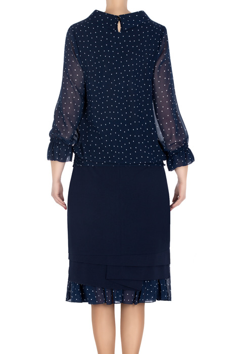 Elegancki komplet damski bluzka i spódnica granatowy w kropki 3201